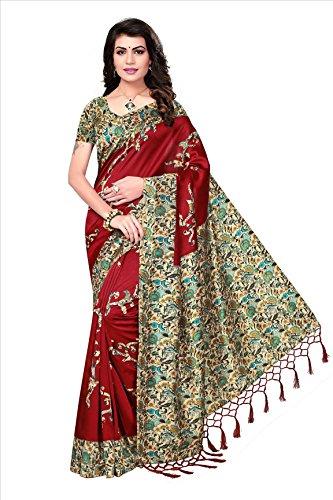 Ishin Art Silk / Blended Mysore Silk Red Printed Women\'s Saree/Sari With Tassels