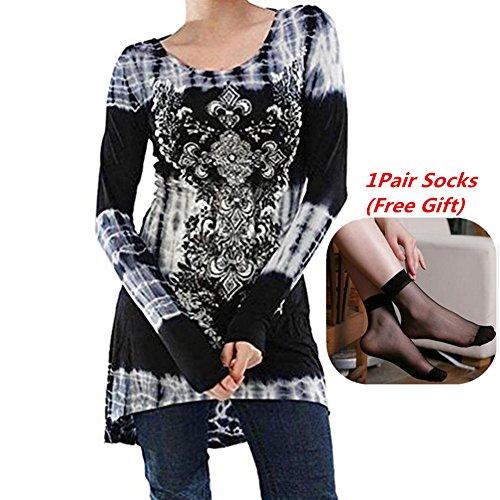 Blusas Mujeres, Morbuy Vintage Tamaño Más Mini Vestido A-Linear Casual Camisetas Góticas Camisas Largas Estampadas Camisetas Manga Larga Cuello Redondo Vestido Camisetas (S, Gris Claro)