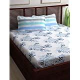 Story @ Home Candy 120 TC Cotton Double Bedsheet and 2 Pillow Covers - Queen, Blue