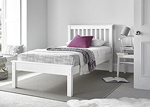 Happy Beds Grace Low Foot End Bed White Wooden Frame Only 4'6'' Double 135 x 190 cm