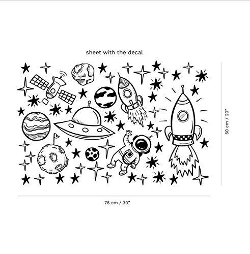 Zhyp Wall Sticker Raum Wand Aufkleber Für Junge Raum Weltraum Kindergarten Wandaufkleber Dekor Rakete Schiff Astronaut Vinyl Aufkleber Planet Decor Kinder (Anpassbare Größe) - Dekor Schiffe