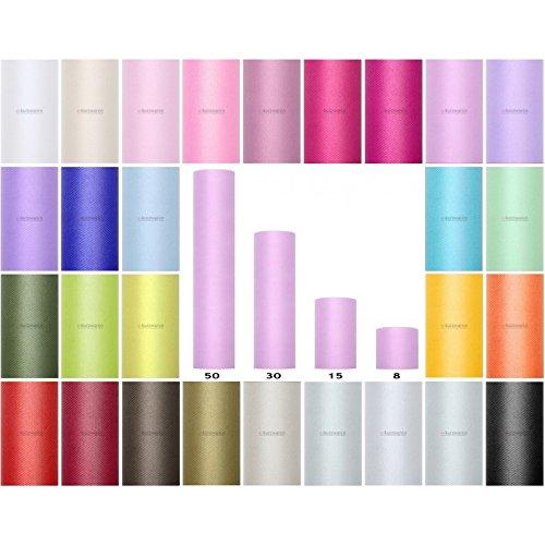 Bobine de Tulle 8/15/30/50/80cm Rouleau de Tulle 9m/20m Idéal décoration pour Mariage Tutu Banquet Artisanat Polyester Couleurs