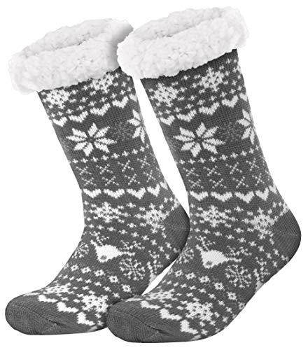 style3 Compagno warme Kuschelsocken mit ABS Anti Rutsch Sohle Wintersocken Herren Damen Socken 1 Paar Einheitsgröße, Farbe:Norwegen Grau