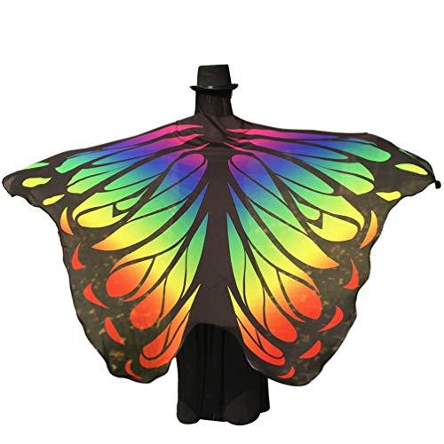 Kairunn Damen Erwachsene Schmetterlingsflügel Schals Nymph Pixie Poncho Karneval Schmetterling Kostüm Faschingkostüme Regenbogen 197 * 125cm (Regenbogen Schmetterlings Kostüm)