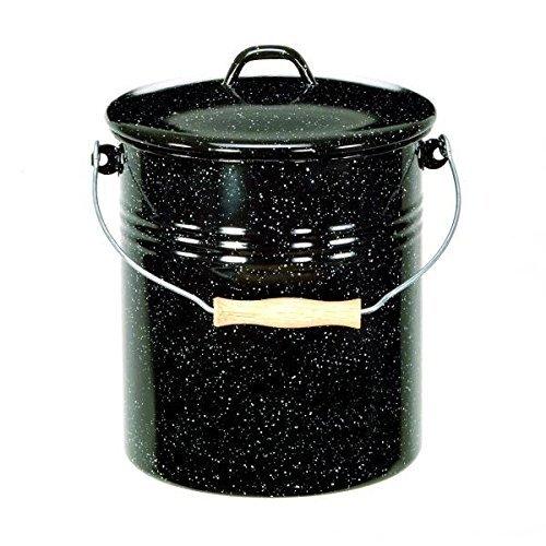 Mülleimer mit Deckel emailliert, schwarz mit weißen Sprenkeln, 10 Liter
