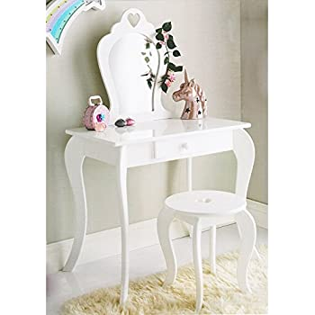 Teamson Kids TD-12951A Castle Childrens Girls Dressing Table Set White//Pink