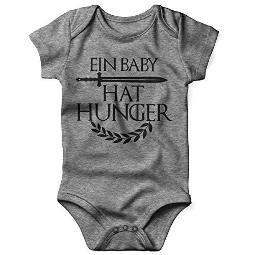 Kostüm Hunger Kind Games - Mikalino Babybody mit Spruch für Jungen Mädchen Unisex Kurzarm EIN Baby hat Hunger | handbedruckt in Deutschland | Handmade with Love, Farbe:Heather, Grösse:56