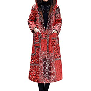TianWlio Jacken Damen Winter Volk Brauch Mit Kapuze Leinen Druckknöpfe Taschen Langer Mantel Parka Outwear Parka Mäntel Herbst Winter Warme Jacken Strickjacken Rot schwarz M L XL XXL