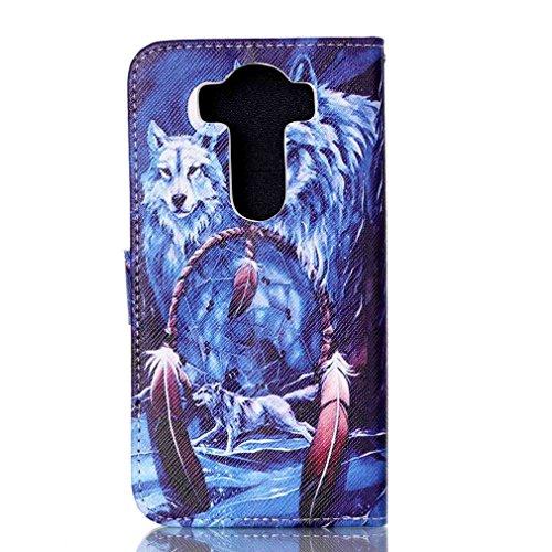 SZHTSWU Hülle für iPhone SE / iPhone 5SE, Magnetverschluss Blumen Muster PU Leder Tasche Schutzhülle Hülle Flip Wallet Case Handyhülle im Bookstyle Design mit Kartenfächern und Standfunktion für iPhon Wolf