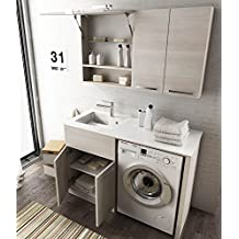 com u mueble colada puerta lavadora y cestas ropa u tamao color l p cm acabado color roble trancheu claro top color top lavabo de