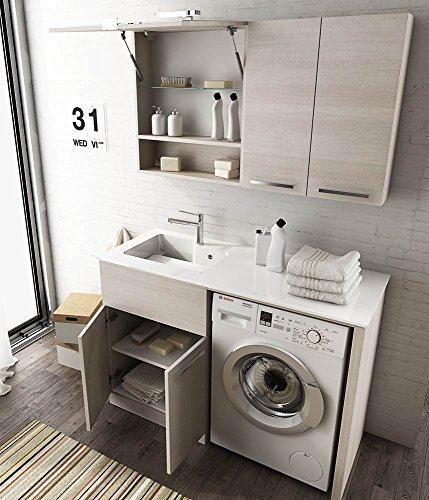 Dafnedesign.com - mobile lavanderia lavatoio porta lavatrice con mensole e specchio - misura: l.127 p.50 cm - finitura colore rovere tranche' chiaro