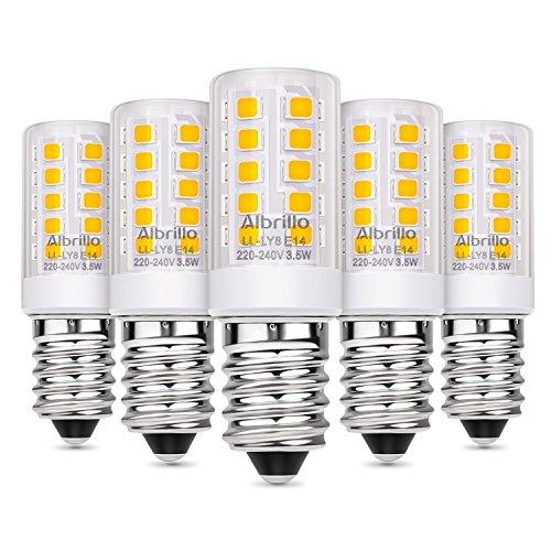 Albrillo 5er Pack 3.5W E14 LED Lampe 310lm, 3000k warmweiß LED Birnen ersatz 40W Glühlampe, E14 Energiesparlampe für Kühlschrank, Tischlampe