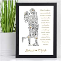 Personalised Soul Mates Christmas Gifts for Couples Her Him Husband Wife Girlfriend Boyfriend Present Keepsake Gifts - ANY TWO NAMES - Black or White Framed A5 A4 Prints or 18mm Wooden Blocks