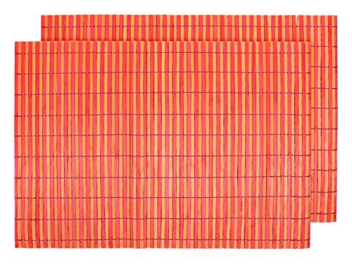 2 PZ di tovagliette americane in bambù (145098 arancione rosso), set da tavola in stecche (2 Spugna Palle)