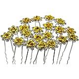 Contever® Elegante 20 piezas para Mujer Suite de Diamante artificial U-en Forma de Horquillas Clips para el Cabello - Dorado