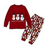 Hzjundasi Natale Vestiti Bambini Ragazze Pigiama Set Maniche lunghe Pattern Pullover Pigiami 3-8 anni Rosso Altezza 130cm