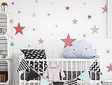 dekodino Sticker Mural étoiles Kit Fille Couleurs en Pastel Ciel étoilé Coller