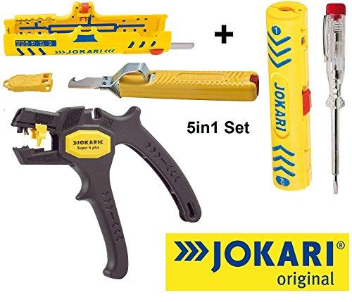 Jokari 5in1 Abisolier Elektro Installations Set 1x Abisolierzange SUPER 4 Plus 1x Abisoliermesser mit Hakenklinge 1x Abisolierer Super-Entmantler 15 1x Abisolierer Coaxi No.1 & 1x Prüf-Schraubendreher Phasenprüfer - Spannungstester