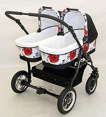 Carro gemelar 3 piezas. Capazos+sillas+grupo 0+accesorios. Negro+Blanco Rojo.