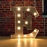 SOLMORE 30*5CM Lettre LED à Pile Lumineux A-Z Métal Alphabet Lampe Ampoule Stickers Muraux DIY Décoration Mariage Soirée Anniversaire Fête École Hôtel Bar Restauration Chambre Enfant (Argent) E