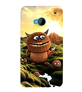 ANIMATED BROWN MONSTER WITH THE LITTLE ONES 3D Hard Polycarbonate Designer Back Case Cover for HTC One M7 :: HTC M7