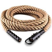 Capital Sports H-Serie • Battle Rope • Power Rope • Fitness Rope • Schwungseil • für Sprung- & Kletterübungen • Tauziehen • Material: Hanffaser • dreischlägig • Durchmesser: 3,8cm • Stahlhaken zur sicheren Befestigung • Modelle: 12m