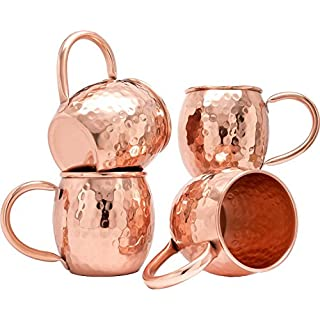 Zap Impex ® Hammered Copper Barrel Becher Für Moscow Mule Set von 4