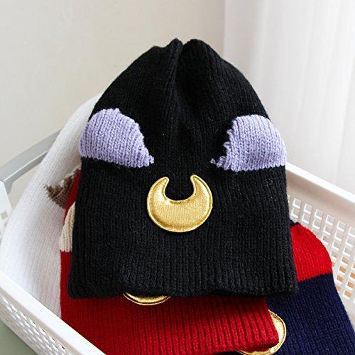 Hut, bezaubernde Schwester cartoon Stereo-ohrhörer Verdickung stricken Kappe, Kinder warme Winter und Winter Hut, süße Katze Ohren Wool Cap, Einstellbar, schwarz