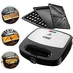 Russell Hobbs 24540-56 Appareil à Sandwich 3en1 Fiesta 750W, Gaufrier, Grill, Plaques Amovibles Anti Adhésives