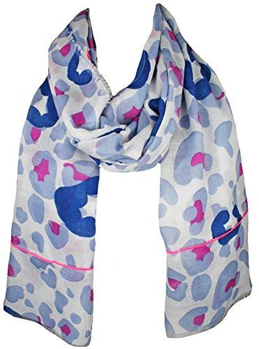 Mevina Damen Schal Camouflage Neon Bund abgesetzt groß Tuch Schal Halstuch Baumwolle Blau T2502 Neon-blaue Sachen