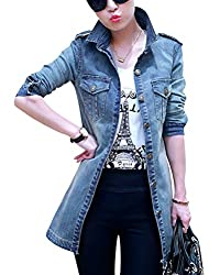 Women Denim Outerwear Slim Fitted Long Sleeve Vintage Light Wash Faded Long Jeans Jacket Blue S