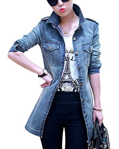 Women Denim Outerwear Slim Fitted Long Sleeve Vintage Light Wash Faded Long Jeans Jacket