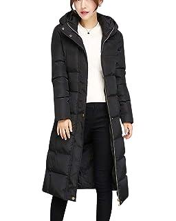 bc273be68b0234 DianShaoA Damen Übergangs Jacke Steppjacke Mit Kapuze Slim Fit Warm Lang  Mantel