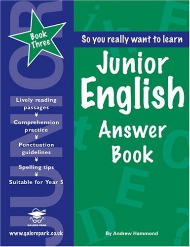 Junior English Book 3 Answer Book by Andrew Hammond (26-Sep-2006) Paperback