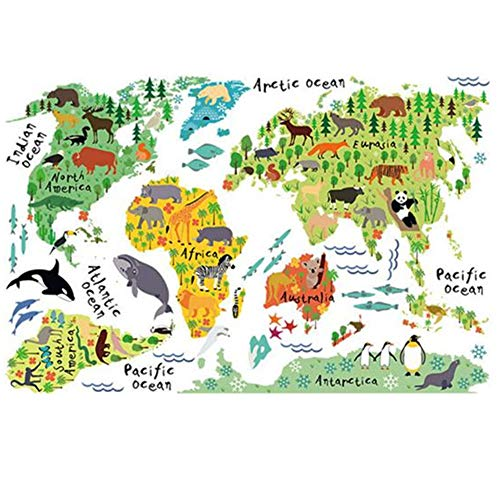 baojunht Animal Weltkarte Tapete Creative Aufkleber Art Wandbild Kinder Zimmer Wandtattoo -