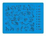 Tischset/Platzset aus Silikon für Kinder 4 Stück - Platzdeckchen/Platzmatten im 4er Set - Tischunterlage mit ABC, Zahlen, Tieren - dunkelblau