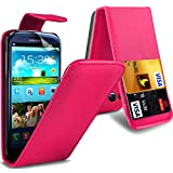 ( Hot Pink ) Samsung Galaxy S3 I9300 Premium Stylish Protective Faux Kredit / Debit-Karten-Slot Leder Flip Case Hülle & LCD-Display Schutzfolie by Spyrox