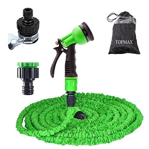TOPMAX Gartenschlauch Flex Wasserschlauch Flexibel grün FlexiSchlauch Gartenteichschlauch Dehnbar (3-mal Dehung) (15M/50FT) (Natürlichen Flex)