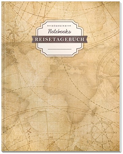 DÉKOKIND Reisenotizbuch zum Selberschreiben | DIN A4, 100+ Seiten, Register, Vintage Softcover | Perfekt als Abschiedsgeschenk | Motiv: Weltkarte