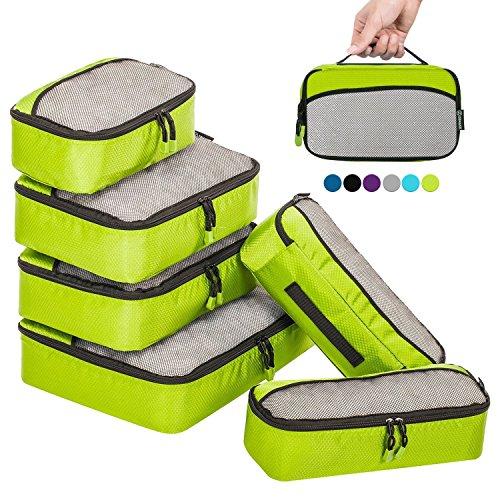 ZOMAKE Packing Cubes Packwürfel Set,Kleidertaschen Packtaschen 6-teiliges,ltra-leichte koffer organizer set Ideal für Seesäcke, Handgepäck und Rucksäcke (Grün)