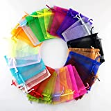 25 Pieces 9cm x 12cm Multi Coloured Organza Gift Bags Wedding Favor Bags Jewellery Pouches, Medium Size