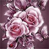 5D Diamant Full Malerei Rhinestone Rose Blume Sonnena DIY Stickerei Painting Kreuz Stich Diamond Dekoration Home Wall Décor Kunst Handwerk (A, 25 * 25cm)