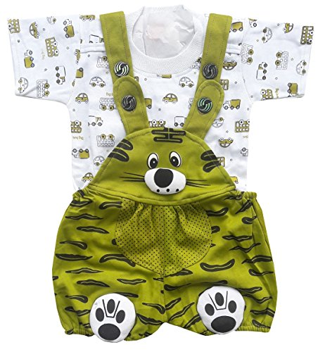 BabyMart Baby Boy's and Girl's Cotton Printed Dungaree Set with T-Shirt (DUNGAREE_02, Mehandi, 3-6 Months)