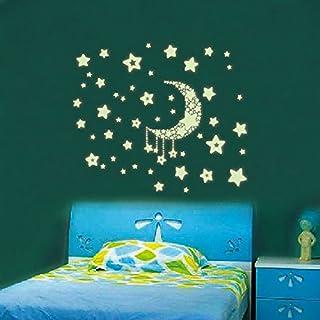 POSSBAY 30x21cm Wandsticker Kinderzimmer Sterne Mond im Dunkeln leuchtend Weihnachten Geschenk