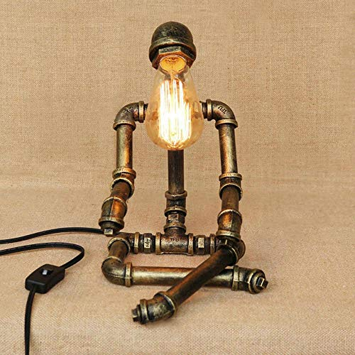 FTLY Ferro da stiro Robot da tavolo American Country Industrial Desk luce retrò personalità creativa Ristorante Cafe Camera Bar Studio in ferro battuto Robot Desk Lamp