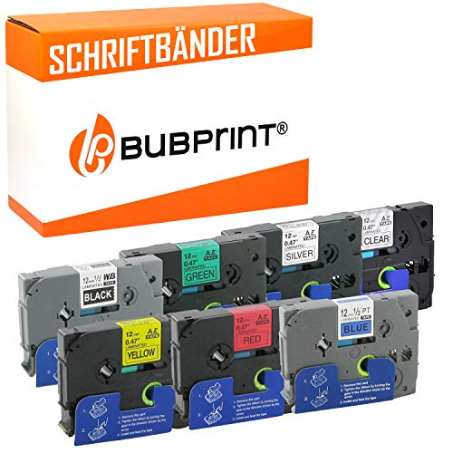 Bubprint 7 nastro a cassetta compatibile per Brother TZE 131 335 431 531 631 731 931 e P-Touch 1000 1005 1010 1080 1250 1750 H105 H110 D 200 GL1000