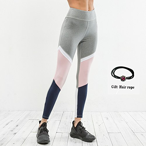 Huoduoduo Frauen Hohe Taille Sport Leggings, Nähen Farblich Codierte Ringe, Yoga Leggings (Grau Größe S, M, L, XL Geschenk Seil),S | 06852222522303