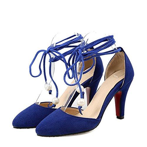 VogueZone009 Femme à Talon Haut Dépolissement Couleur Unie Lacet Pointu Chaussures Légeres Bleu
