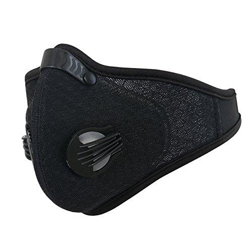GWELL Herren Damen Gesichtsmaske Aktivkohle Mundschutzmaske Staubschutz für Radfahren Motorrad Ski schwarz