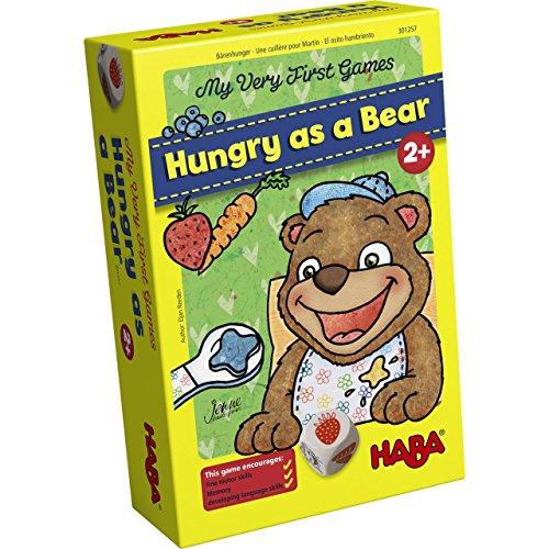 Haba 300171 - Meine Ersten Spiele – Bärenhunger   Lustige Spielesammlung für 1-3 Spieler ab 2 Jahren   mit Süßem Bären-Aufsteller Zum Füttern